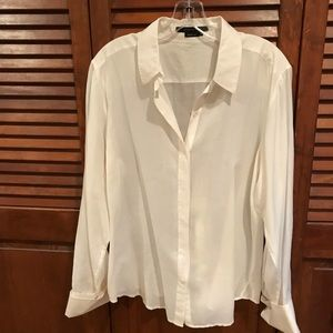 White sheer cotton BCBG BLOUSE.